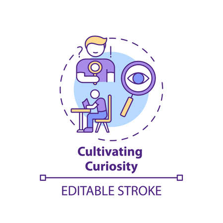 Cultivating curiosity concept icon. Overcoming procrastination tip idea thin line illustration. Openness to new experiences. Vector isolated outline RGB color drawing. Editable stroke