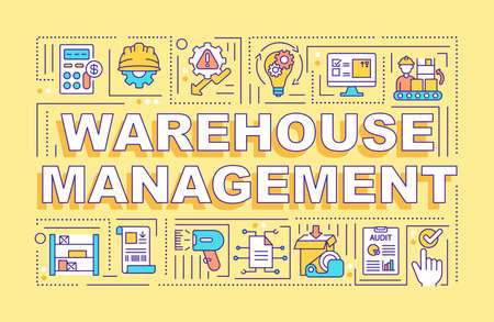 Warehouse management word concepts banner. Storehouse organization. Storage service. Infographics with linear icons on yellow background. Isolated typography. Vector outline RGB color illustration