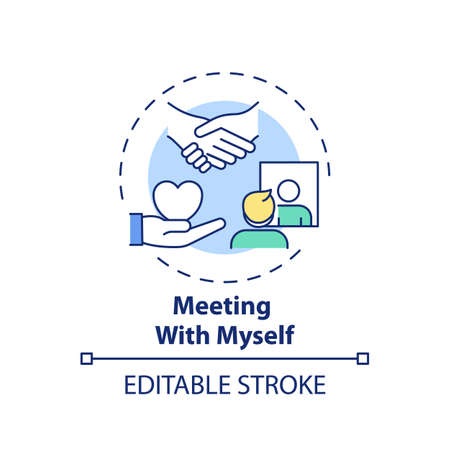 Meeting with myself concept icon. Fighting procrastination method idea thin line illustration. Self-kindness, self-care. Weakness awareness. Vector isolated outline RGB color drawing. Editable stroke