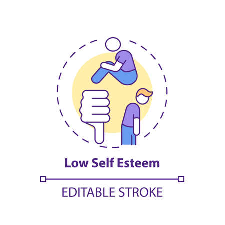 Low self esteem concept icon. Procrastination effect idea thin line illustration. Feeling badly about oneself. Confidence lacking. Vector isolated outline RGB color drawing. Editable stroke