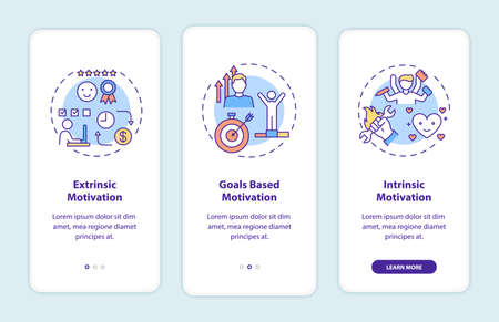 Motivation types onboarding mobile app page screen with concepts. Extrinsic and intrinsic motivation walkthrough 3 steps graphic instructions. UI vector template with RGB color illustrations