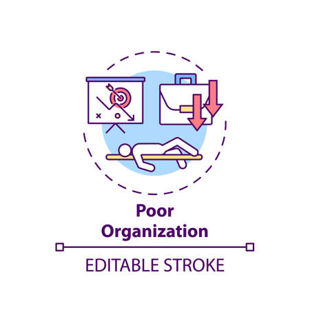 Poor organization concept icon. Procrastination reason idea thin line illustration. Motivation and discipline lacking. Disorganization. Vector isolated outline RGB color drawing. Editable stroke