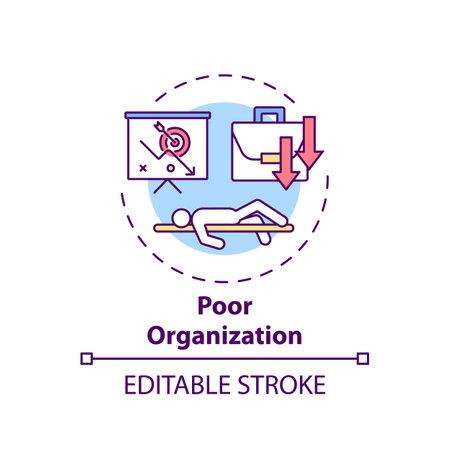 Poor organization concept icon. Procrastination reason idea thin line illustration. Motivation and discipline lacking. Disorganization. Vector isolated outline RGB color drawing. Editable stroke