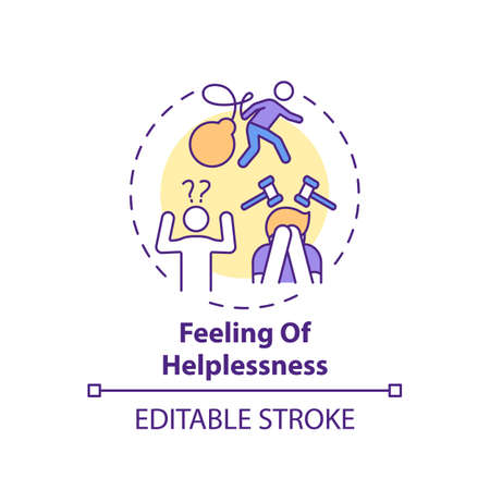Helplessness feeling concept icon. Inability to help oneself idea thin line illustration. Struggling with depression and anxiety. Vector isolated outline RGB color drawing. Editable stroke