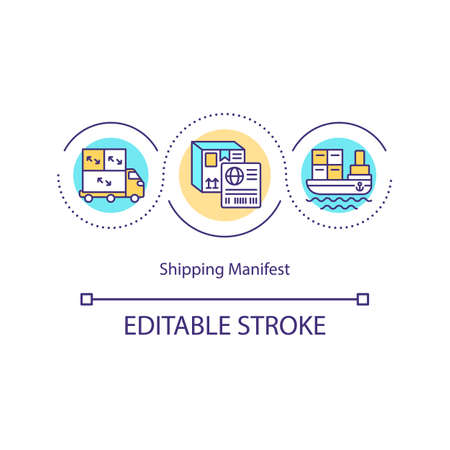 Shipping manifest concept icon. Cargo document. Logistic customs. Freight transportation. Storehouse management idea thin line illustration. Vector isolated outline RGB color drawing. Editable stroke Vettoriali