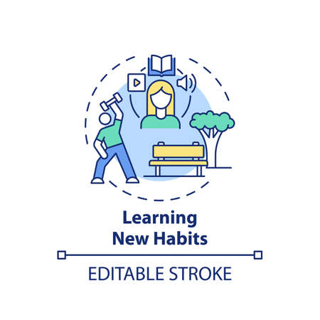 Learning new habits concept icon. Fighting procrastination idea thin line illustration. Discipline, self-control. Physical and mental health. Vector isolated outline RGB color drawing. Editable stroke