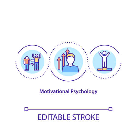 Motivational psychology concept icon. Process that initiates and maintains goal oriented behaviors. Smart life idea thin line illustration. Vector isolated outline RGB color drawing. Editable stroke