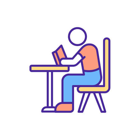 Student syndrome RGB color icon. Planned procrastination. Start to apply themselves to assignment at last possible moment before its deadline will end. Isolated vector illustration
