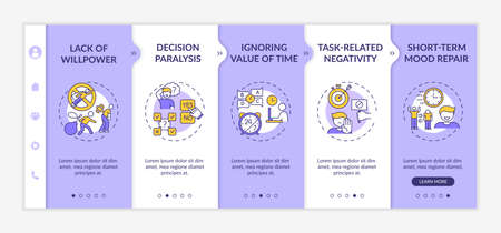 Delaying tasks habit reasons onboarding vector template. Willpower lack. Ignoring time value. Responsive mobile website with icons. Webpage walkthrough step screens. RGB color concept