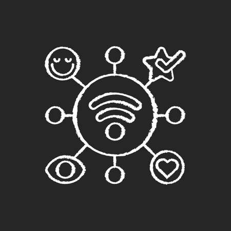 Close Range Marketing chalk white icon on black background. Technology that allows businesses to both promote goods and services and involve their customer. Isolated vector chalkboard illustration