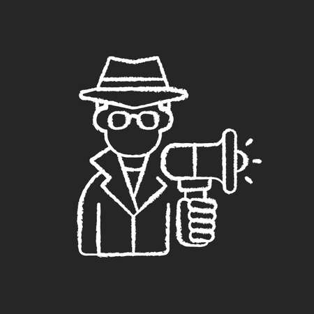 Undercover marketing chalk white icon on black background. Introducing company product to consumers in way that does not seem like advertising. Isolated vector chalkboard illustration