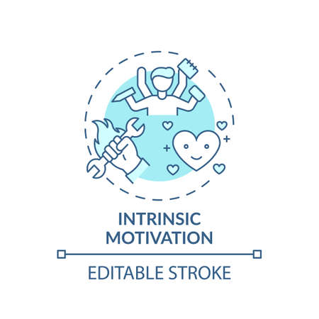 Intrinsic motivation concept icon. Motivation type idea thin line illustration. Personal satisfaction, fulfillment. Enhancing engagement. Vector isolated outline RGB color drawing. Editable stroke 向量圖像