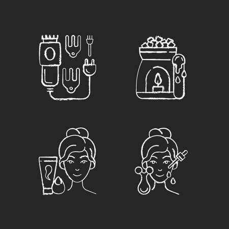 Beauty care appliances chalk white icons set on black background. Electric hair clippers. Wax warmer. Makeup sponge. Microcurrent massager. Hair trimmer. Isolated vector chalkboard illustrations
