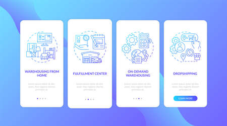 Warehouse customer services dark blue onboarding mobile app page screen with concepts. Order storage, shipping walkthrough 5 steps graphic instructions. UI vector template with RGB color illustrations