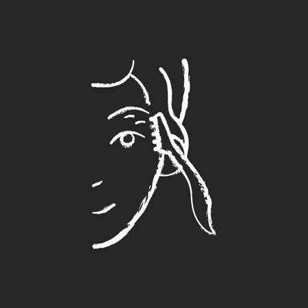 Eyebrow razor chalk white icon on black background. Shaving brows. Removing fine eyebrow, neck and face hairs. Small beauty tool. Reducing unnecessary hairs. Isolated vector chalkboard illustration