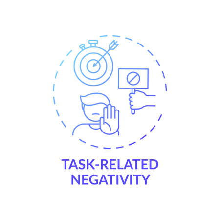 Task-related negativity concept icon. Procrastination cause idea thin line illustration. Negative emotions associated with task. Stressful factors. Vector isolated outline RGB color drawing