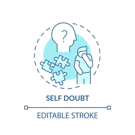 Self-doubt concept icon. Procrastination effect idea thin line illustration. Fear making mistakes. Persistent need for reassurance. Vector isolated outline RGB color drawing. Editable stroke