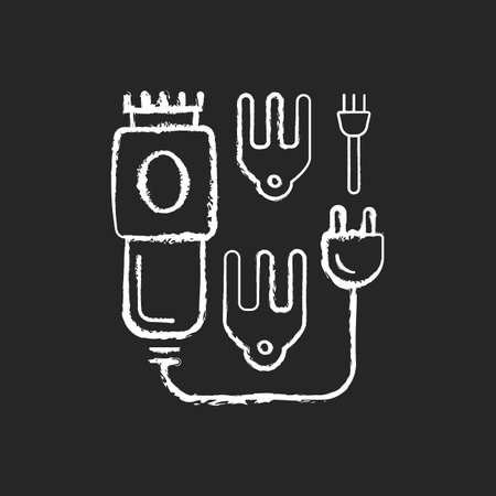Electric hair clippers chalk white icon on black background. Hair trimmer. Hairstyling appliance. Sharpened comb-like blades. Beauty and barber salon. Isolated vector chalkboard illustration
