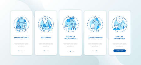 Procrastination effects onboarding mobile app page screen with concepts. Guilt, low self esteem walkthrough 5 steps graphic instructions. UI vector template with RGB color illustrations