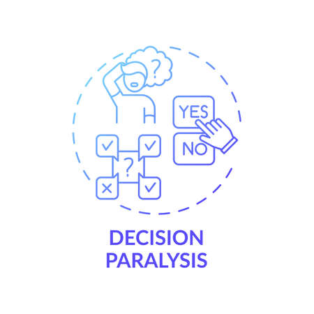 Decision paralysis concept icon. Procrastination reason idea thin line illustration. Fear making wrong move. Indecisiveness. Cognitive overload. Vector isolated outline RGB color drawing