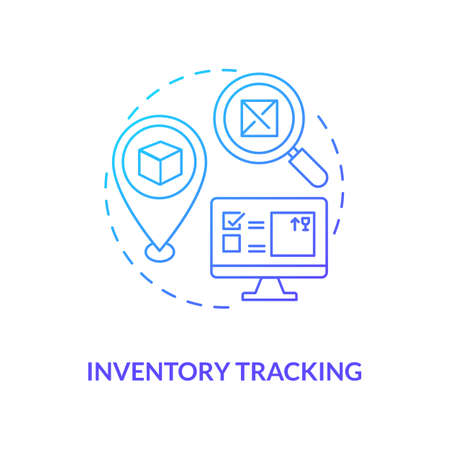 Inventory tracking concept icon. Warehouse management components. Ensuring that products are available. Business idea thin line illustration. Vector isolated outline RGB color drawing