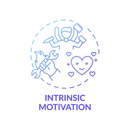 Intrinsic motivation concept icon. Motivation type idea thin line illustration. Doing activity for inherent satisfaction. Enhancing engagement. Vector isolated outline RGB color drawing