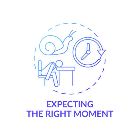 Right moment expecting concept icon. Procrastination reason idea thin line illustration. Time-management. Finding reasons to delay things. Perfect time. Vector isolated outline RGB color drawing