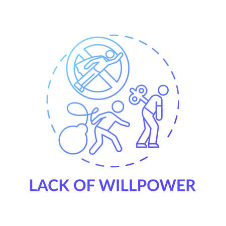 Willpower lacking concept icon. Procrastination reason idea thin line illustration. No motivation. Tired mind. Chronic muscle weakness. Impassiveness. Vector isolated outline RGB color drawing