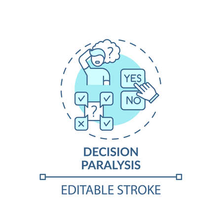Decision paralysis concept icon. Procrastination reason idea thin line illustration. Paralyzing indecision. Cognitive overload. Vector isolated outline RGB color drawing. Editable stroke Vektorové ilustrace