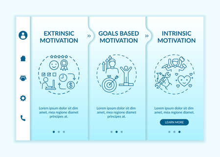 Motivation variety onboarding vector template. Goals based incentive. Doing tasks without external rewards. Responsive mobile website with icons. Webpage walkthrough step screens. RGB color concept Vetores
