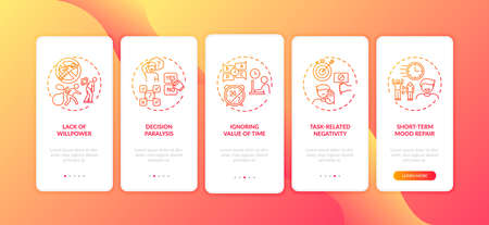 Procrastination reasons onboarding mobile app page screen with concepts. Mood changes, ignoring time value walkthrough 5 steps graphic instructions. UI vector template with RGB color illustrations