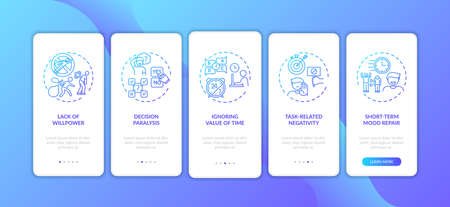 Procrastination reasons onboarding mobile app page screen with concepts. task-related negativity, mood repair walkthrough 5 steps graphic instructions. UI vector template with RGB color illustrations