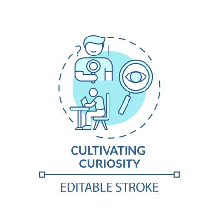 Cultivating curiosity concept icon. Overcoming procrastination tip idea thin line illustration. Improving engagement and collaboration. Vector isolated outline RGB color drawing. Editable stroke