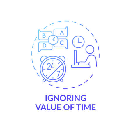 Ignoring time value concept icon. Time-management problem idea thin line illustration. Missing deadlines entirely. Not adapting at prioritizing tasks. Vector isolated outline RGB color drawing
