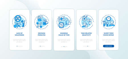 Procrastination causes onboarding mobile app page screen with concepts. Hesitancy, willpower lack walkthrough 5 steps graphic instructions. UI vector template with RGB color illustrations