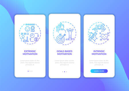 Stimulation types onboarding mobile app page screen with concepts. Extrinsic and intrinsic motivation walkthrough 3 steps graphic instructions. UI vector template with RGB color illustrations Ilustração