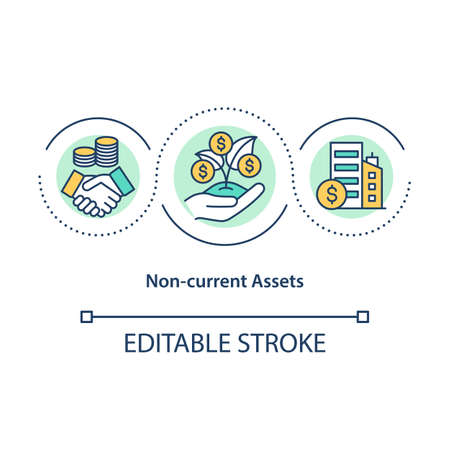 Non current assets concept icon. Long term plan for earning money. Increase income. Business service idea thin line illustration. Vector isolated outline RGB color drawing. Editable stroke