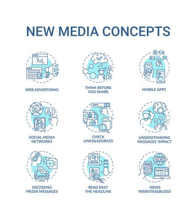 New media concept icons set. Media literacy idea thin line RGB color illustrations. Checking links and sources. Thinking before sharing. Vector isolated outline drawings. Editable stroke Vecteurs