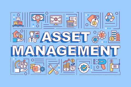 Asset management word concepts banner. Business finance. Economy plan. Infographics with linear icons on blue background. Isolated typography. Vector outline RGB color illustration