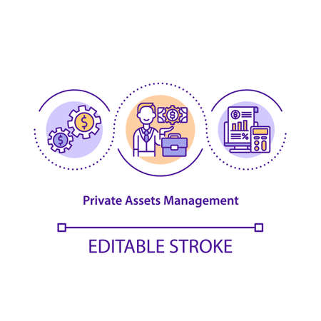 Private asset management concept icon. Managing finance. Cost effective system. Business service idea thin line illustration. Vector isolated outline RGB color drawing. Editable stroke 일러스트