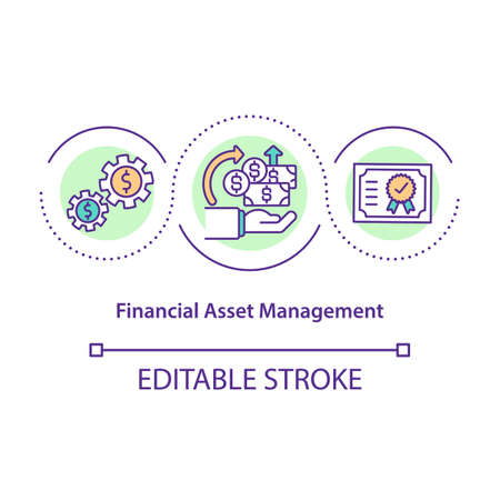 Financial asset management concept icon. Corporate revenue. Operating company money. Business service idea thin line illustration. Vector isolated outline RGB color drawing. Editable stroke 일러스트