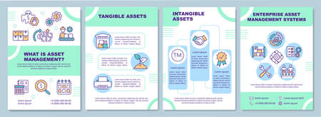 Tangible and intangible asset brochure template. Business organization. Flyer, booklet, leaflet print, cover design with linear icons. Vector layouts for magazines, annual reports, advertising posters