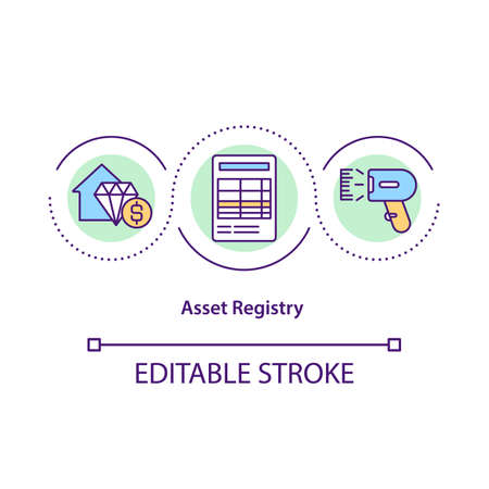 Asset registry concept icon. Financial management. Income report. Money control. Business service idea thin line illustration. Vector isolated outline RGB color drawing. Editable stroke