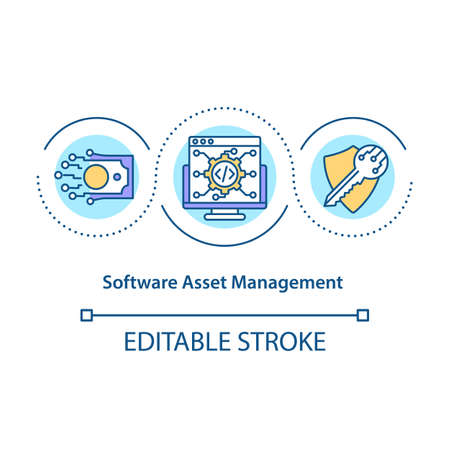 Software asset management concept icon. Maintenance of application for organization. Business service idea thin line illustration. Vector isolated outline RGB color drawing. Editable stroke 일러스트