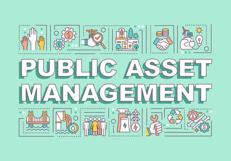 Public asset management word concepts banner. Managing government finance. Infographics with linear icons on mint background. Isolated typography. Vector outline RGB color illustration 일러스트