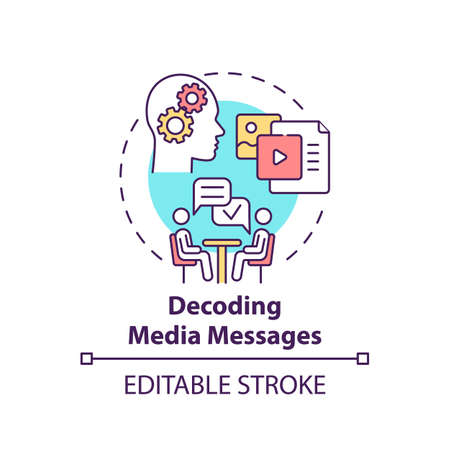 Decoding media messages concept icon. Media literacy elements idea thin line illustration. Analyzing and evaluating messages. Vector isolated outline RGB color drawing. Editable stroke