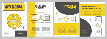 Tangible, intangible asset brochure template. Business service. Flyer, booklet, leaflet print, cover design with linear icons. Vector layouts for magazines, annual reports, advertising posters 일러스트