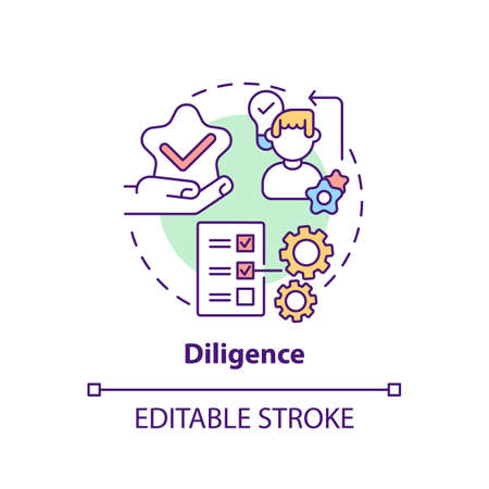 Diligence concept icon. Journalistic ethics standards idea thin line illustration. Gathering and presenting pertinent facts. Vector isolated outline RGB color drawing. Editable stroke Vektorové ilustrace