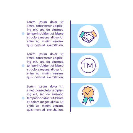 Business cooperation concept icon with text. Businessman handshake. Enterprise development PPT page vector template. Brochure, magazine, booklet design element with linear illustrations