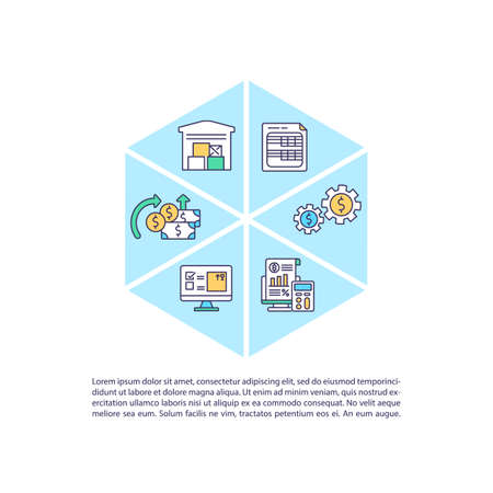 Asset management concept icon with text. Financial portfolio. Business funds organization PPT page vector template. Brochure, magazine, booklet design element with linear illustrations